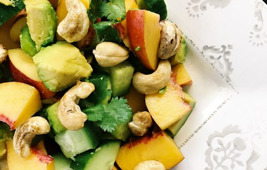 Peach salad with candied nuts – refined sugar free