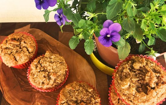Carrot cake muffins – gluten, wheat, dairy and refined sugar free