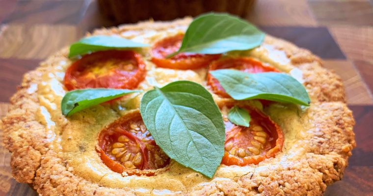 Tomato quiche with almond crust – grain and dairy free