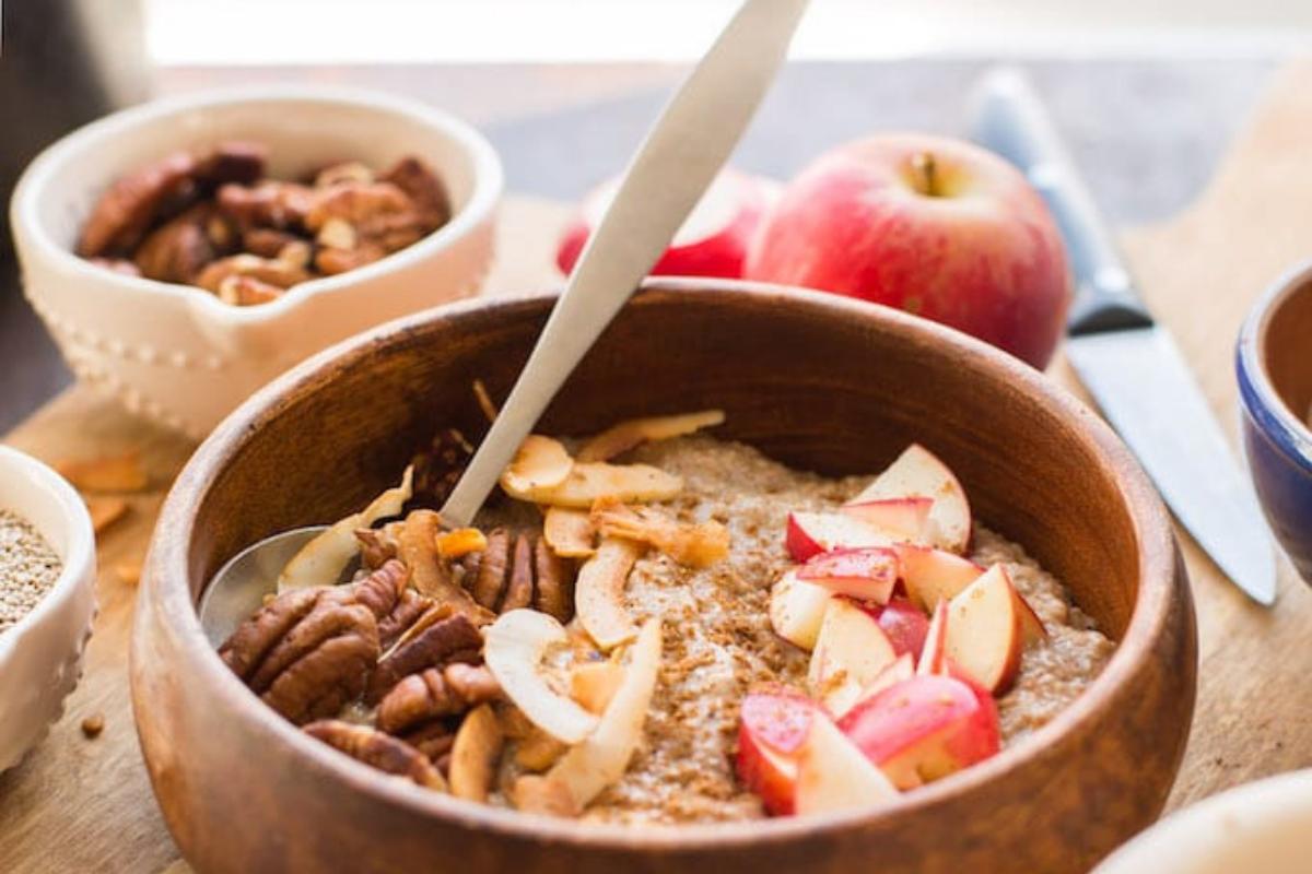 Warm chocolate chia porridge